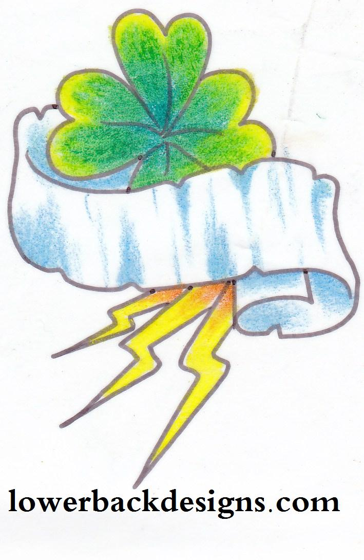 Extremely White Yellow Black And Green Color Ink Clover & Banner Lightning Bolts Tattoo Design For Boys