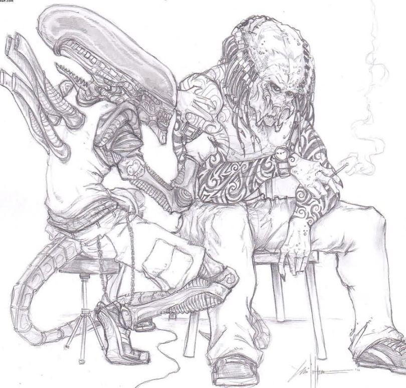 Fabulous Black Color Ink Alien Sketch Tattoo For Boys
