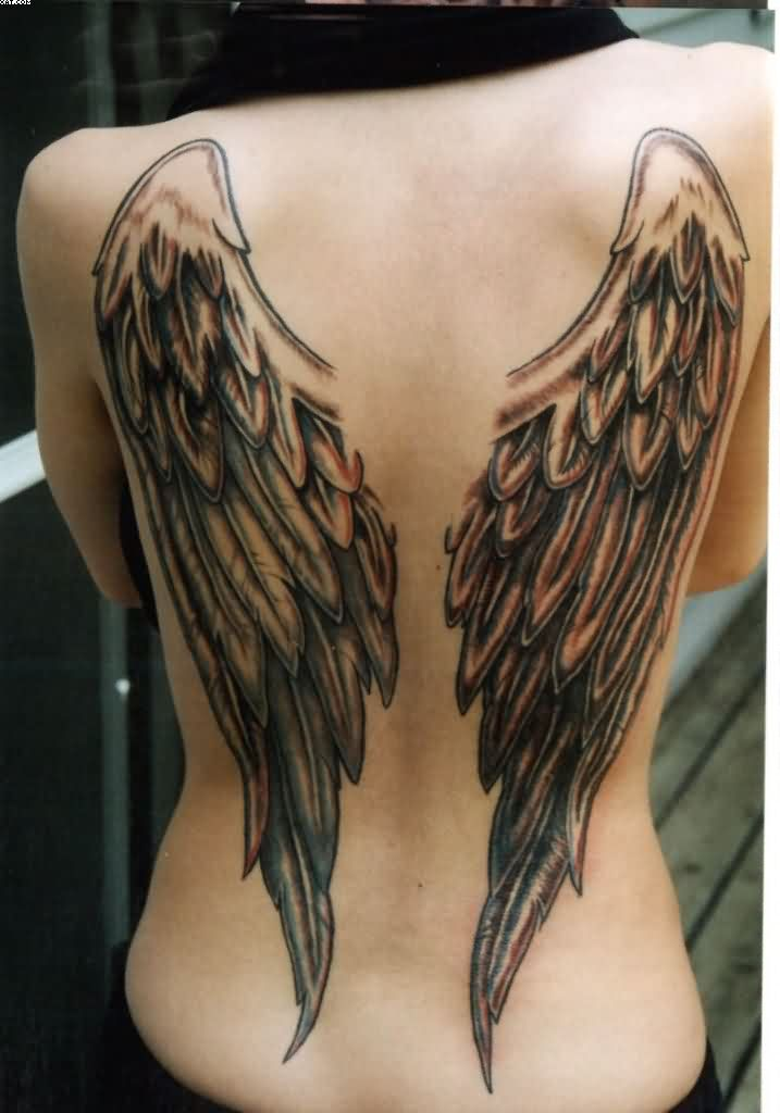Fabulous Angel Wing Tattoos On Back With Black Ink