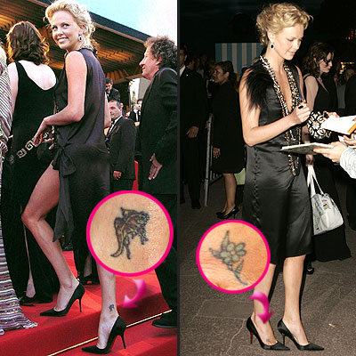 Fabulous Black And Green Color Ink Tattoo On Celebrity Ankle For Girls