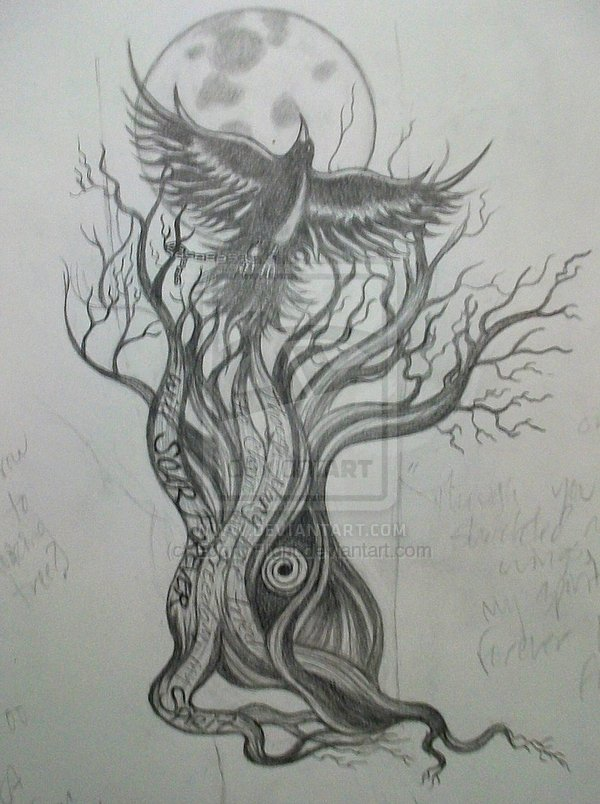 Fabulous Black Color Ink Crow On Tree Tattoo Sketch For Girls
