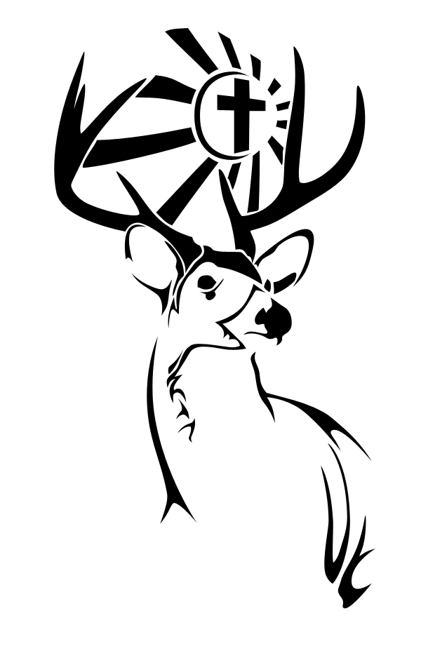 Fabulous Black Color Ink Deer Tattoo Design For Girls