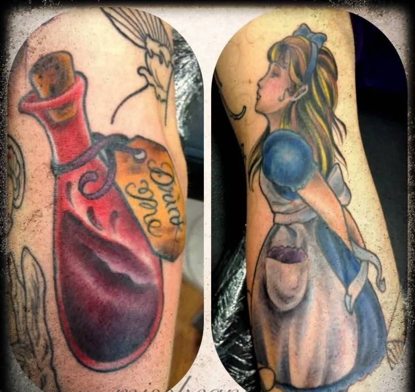 Fabulous Black Red And Blue Color Ink Bottle And Girl Tattoos On Arm For Girls