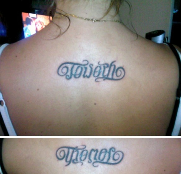 Fabulous Grey Color Ink Ambigram Tattoo For Back For Girls