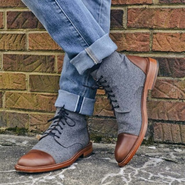 Fabulous High Neck Grey Shoe Highlight With Brown Leather On Top