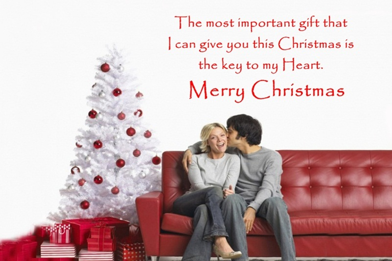 Fabulous Merry Christmas Slogan Card For Couple