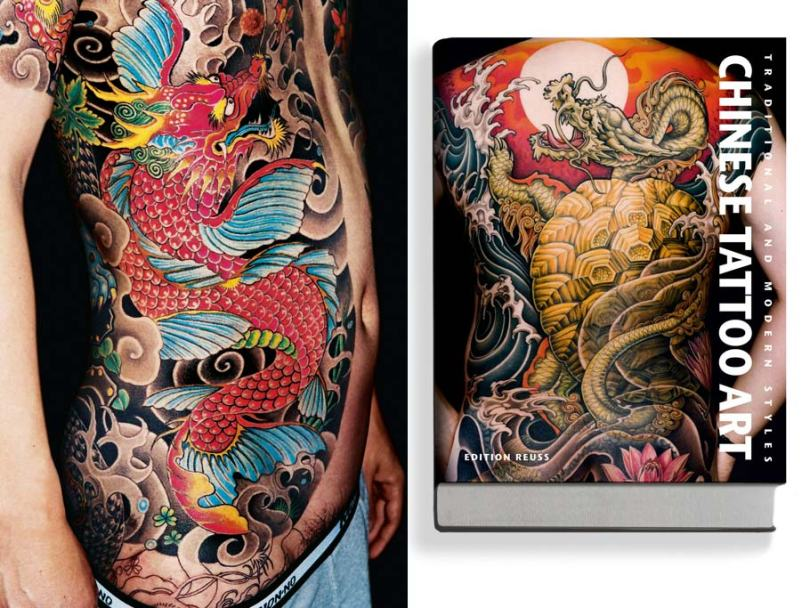 Fabulous Red And Black Color Ink Chinese Tattoo Art For Girls