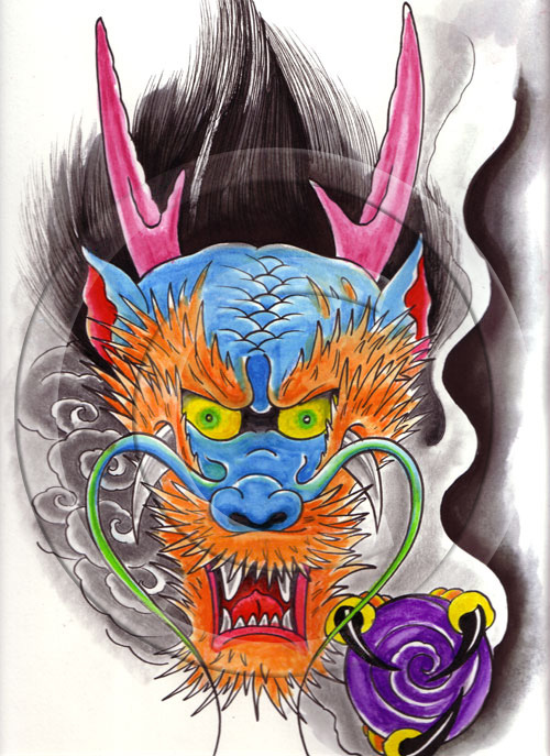 Fabulous Yelloe Green Red And Black Color Ink Dragon Face Devil Tattoo Design For Boys