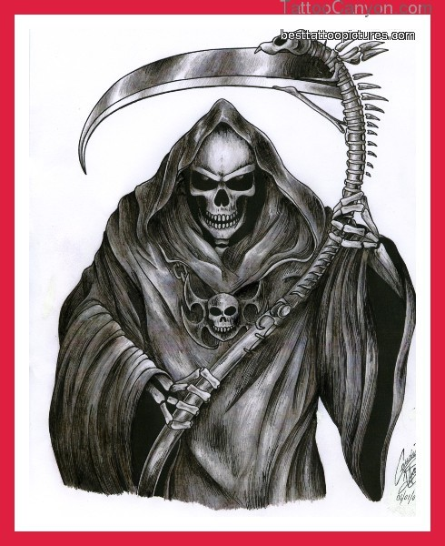 Famous Black And Red Color Ink Death Grim Reaper Tattoo Picture For Girls