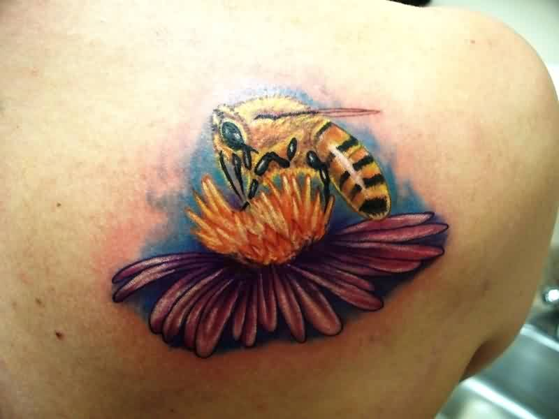 Famous Black And Yellow Color Ink Bee On Flower Tattoo On Back For Girls