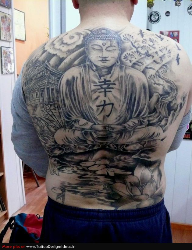 Famous Black Color Ink Back Buddha Tattoo Design On Back For Boys
