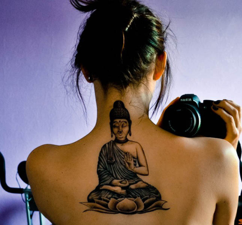 Famous Black Color Ink Buddhist Back Tattoo Design For Girls On Back