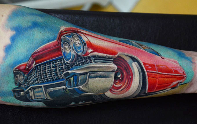 Famous Blue White Black And Red Color Ink Lovely Car Tattoo On Arm For Boys