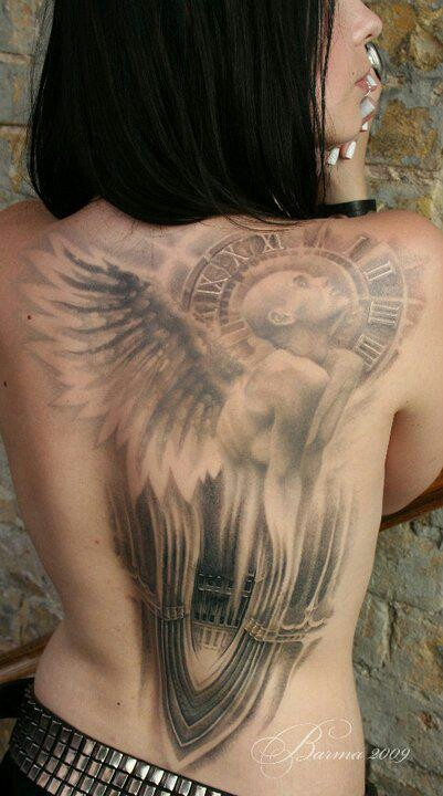 Famous Grey Color Ink Angel Clock Tattoo On Right Shoulder Back For Girls
