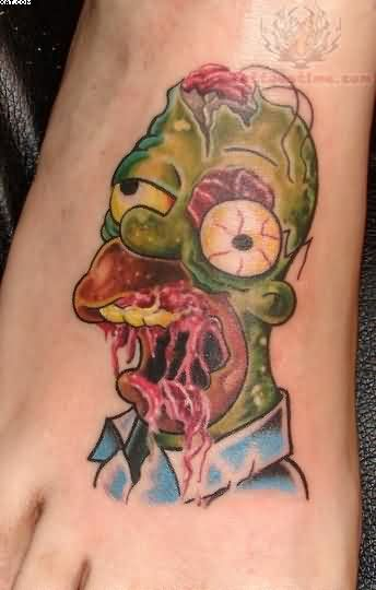 Famous Simpson Zombie Tattoo On Foot