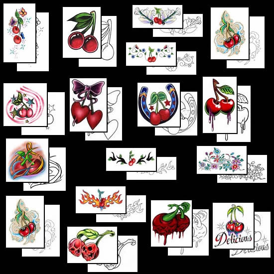 Fantastic Blue Black Green And Red Color Ink Cherry Tattoo Designs For Girls
