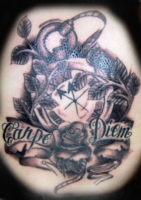 Fantastic Red And Black Color Ink Clock Rose Carpe Diem Tattoo For Boys