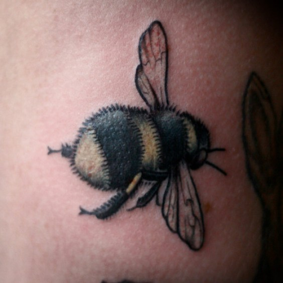 Fantastic Red Black And Yellow Color Ink Bumblebee Tattoo For Girls On Back