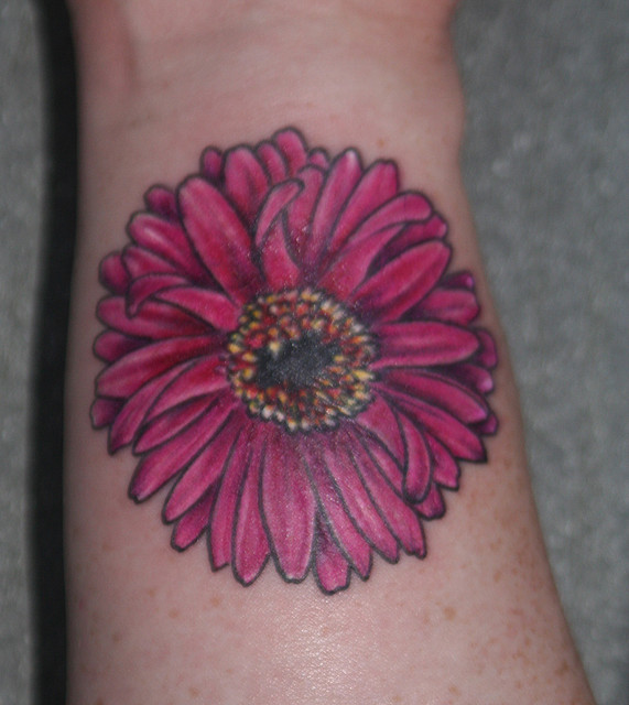 Fantastic Yellow Red And Black Color Ink Daisy Tattoo Design For Girls