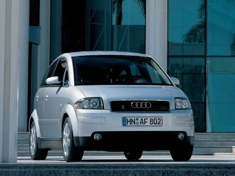 Front side of silver Audi A2 car