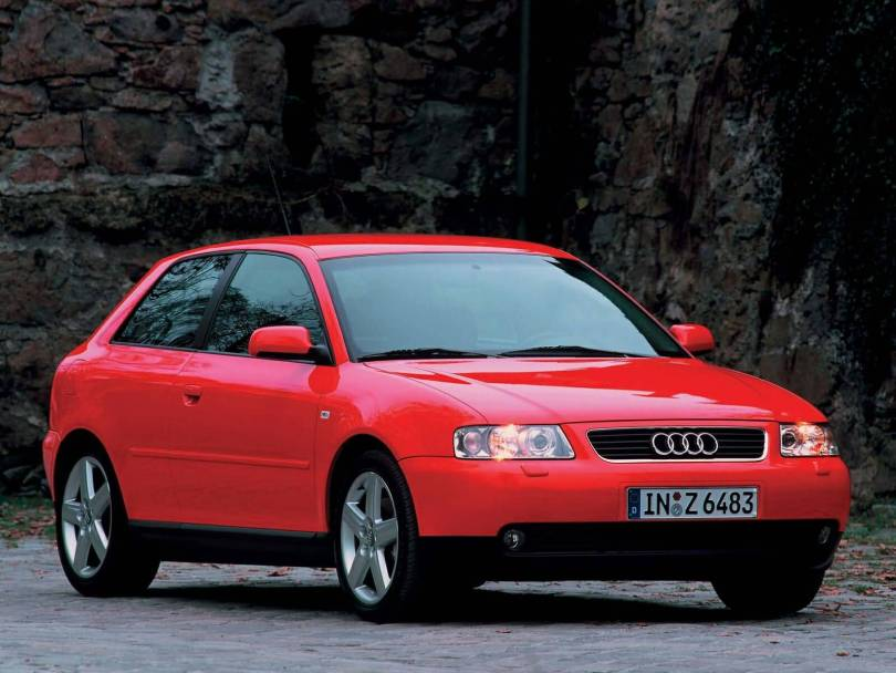 Front side view of beautiful red Audi A3 car