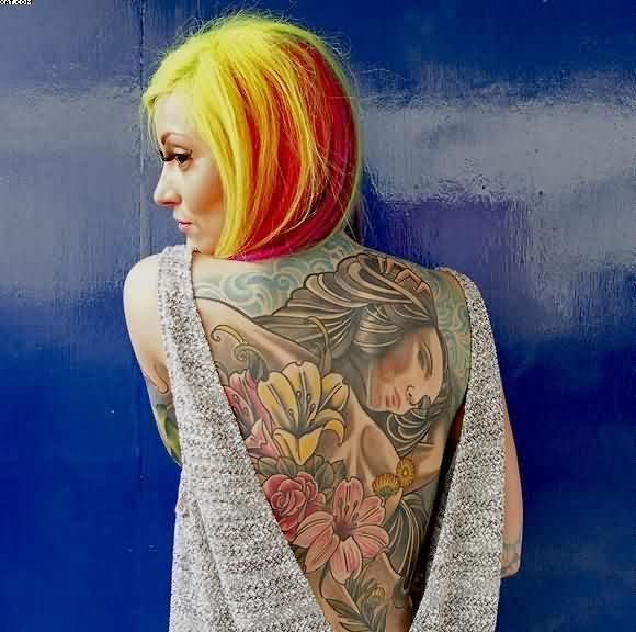 Full Back Flower Women Tattoo On Back