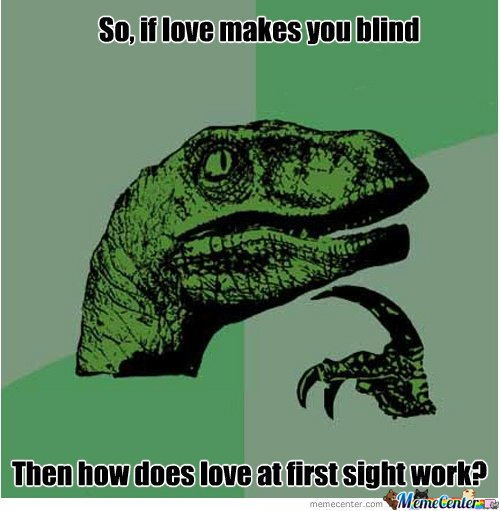 Funny Love Memes So if love makes you blind then how does love at first signt work