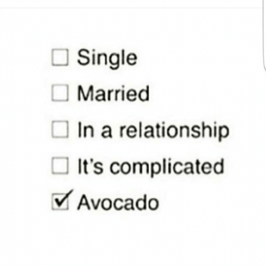 Funny Single Meme Single married in a relationship it's complicated avocado
