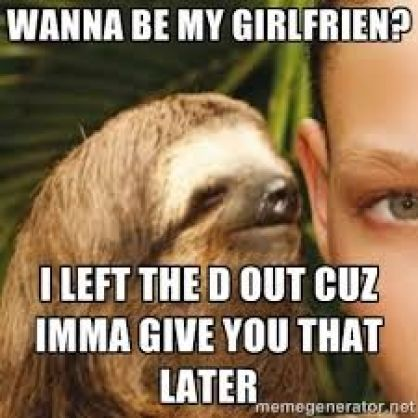Funny Sloth Memes Wanna be ny girlfriend i left the d out cuz imma give you that later
