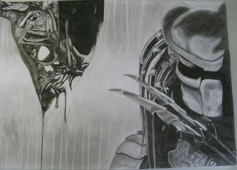 Great Black Color Ink Alien Vs Predator Sketch For Boys