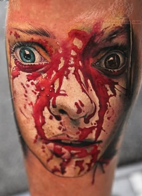Great Bleeding Zombie Face Close Up Tattoo
