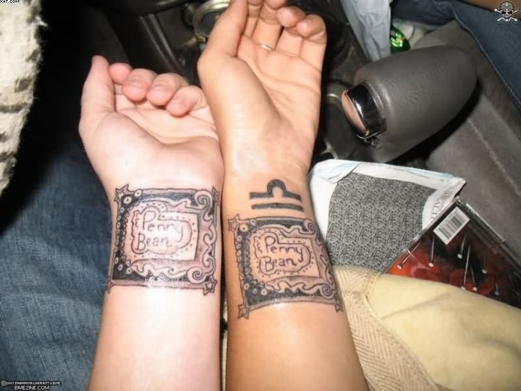 Great Friendship Panel Of Penny Bean Tattoo On Wrist With Black Ink