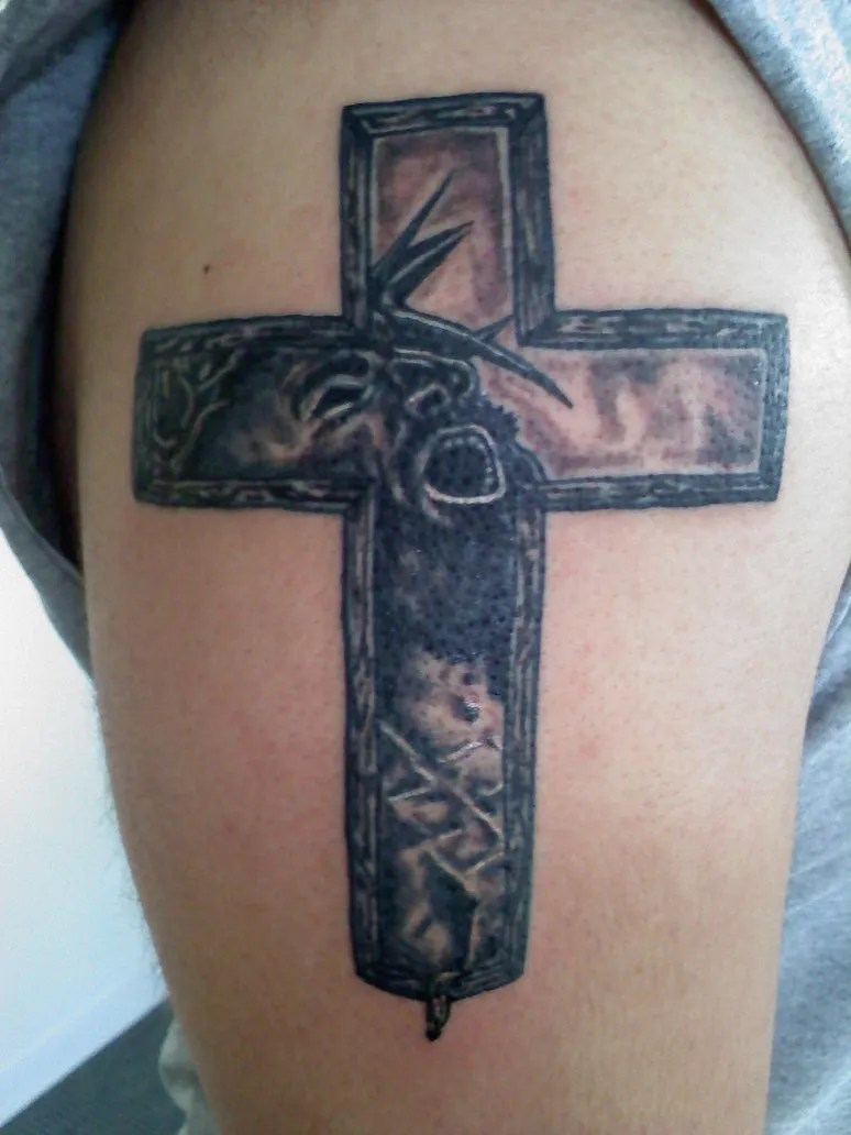 Great Red And Black Color Ink Christian Cross Tattoo For Biceps For Boys