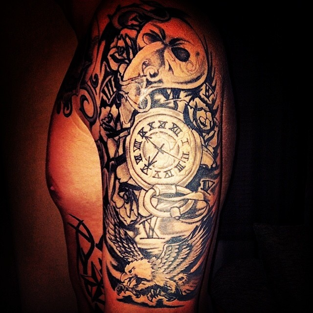 Great Red And Black Color Ink Skull Clock And Eagle Tattoos On Half Sleeve For Boys