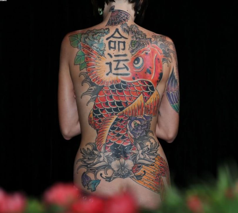 Great Woman Japanese Old Full Back Tattoo
