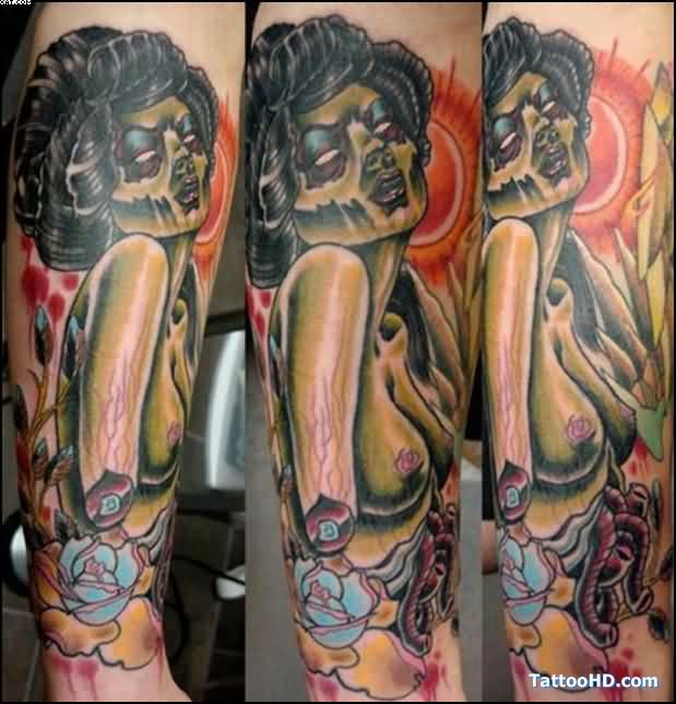 Great Zombie Dead Girl Tattoo With Colorful Ink
