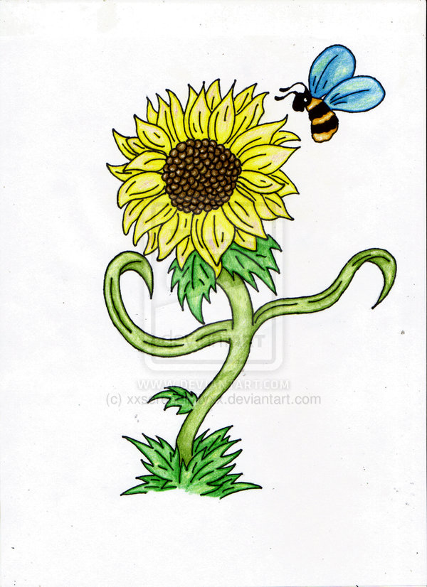 Groovy Green Blue Black And Yellow Color Ink Bumblebee On Sunflower Tattoo Design For Girls