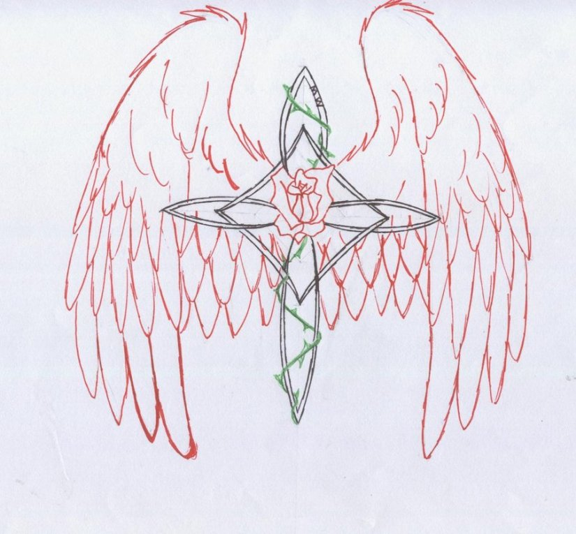 Groovy Green Red And Black Color Ink Winged Cross Tattoo Drawing For Girls