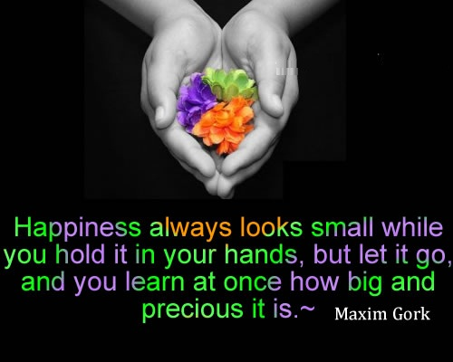 Happiness always looks small while you hold it in your hands Maxim Gork