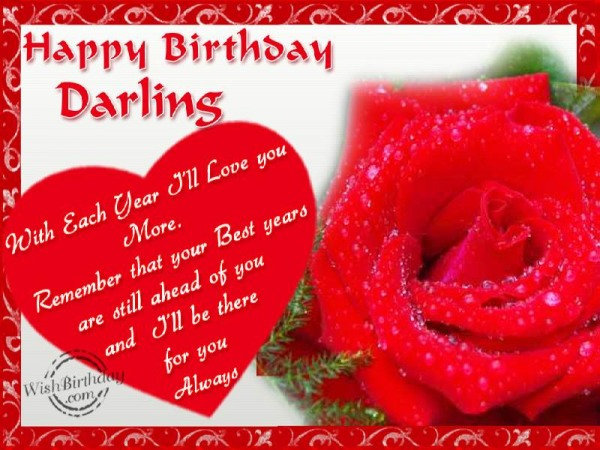 Happy Birthday Darling Beautiful Heart With Red Rose Birthday Wishes Picture