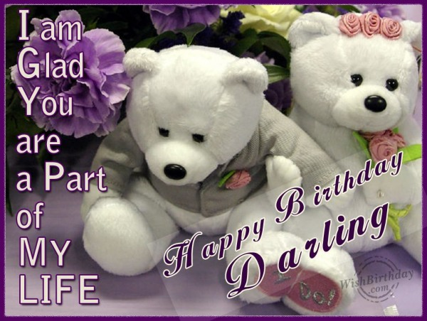 Happy Birthday Darling With Teddy Couple Image