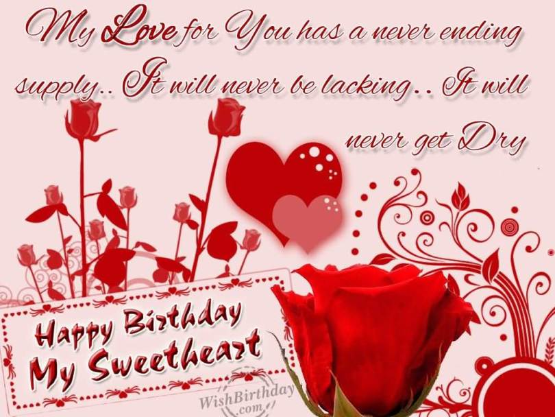Happy Birthday My Sweetheart Lovely Greeting Image