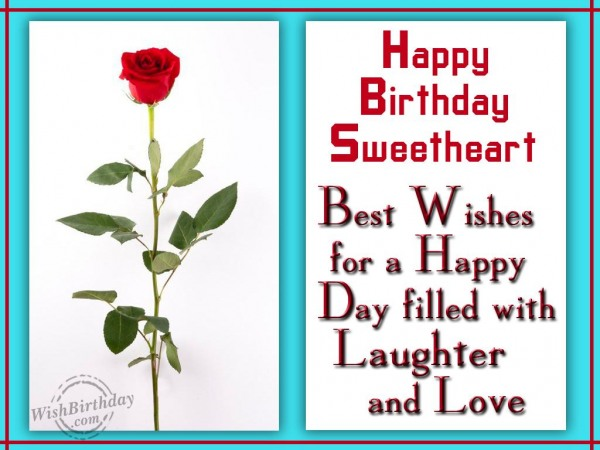 Happy Birthday Sweetheart Best Wishes Greeting Card
