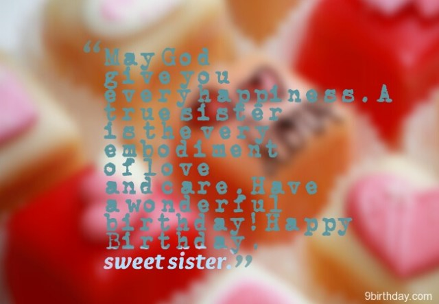 Happy Birthday To My Sweet Sister Wishes Image