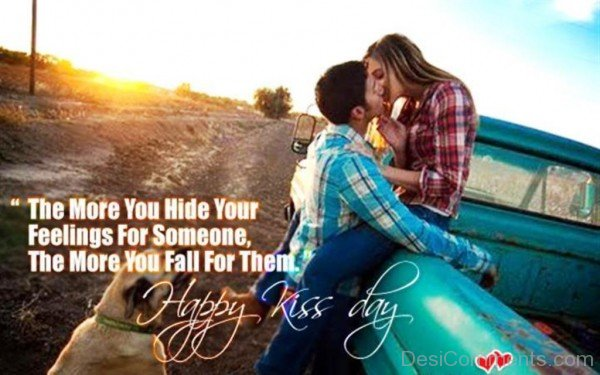 Happy Kiss Day Lover I Love You Greeting Image