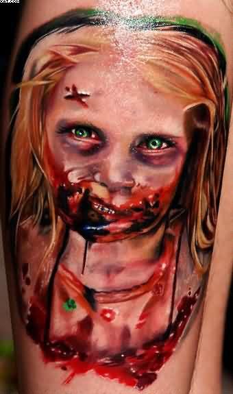 Happy Walking Dead Zombie Girl Tattoo Very Dangerous