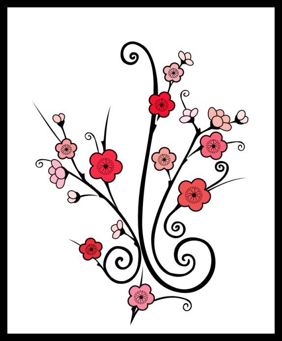 Horrible Black And Red Color Ink Cherry Blossom Tattoo For Girls