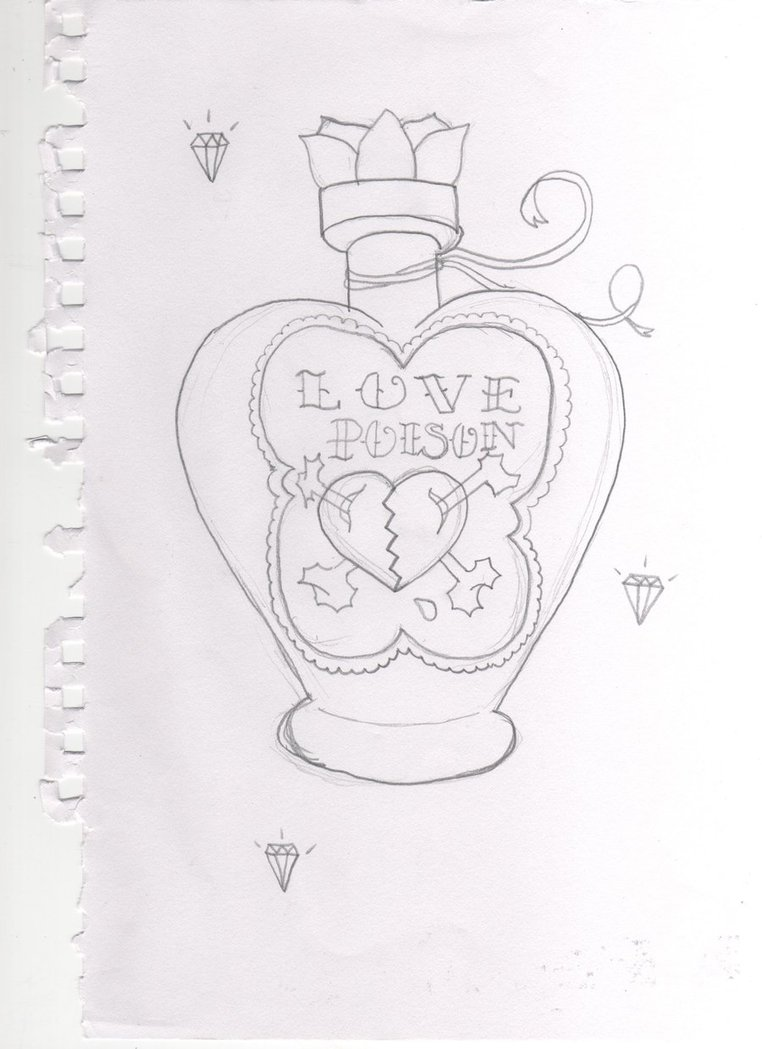 Horrible Black color Love Poison Bottle Tattoo Drawing For Girls