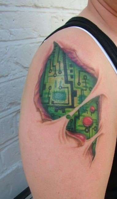 Horrible Green And Black Color Ink Geek Computer Chip Tattoo On Shoulder For Girls