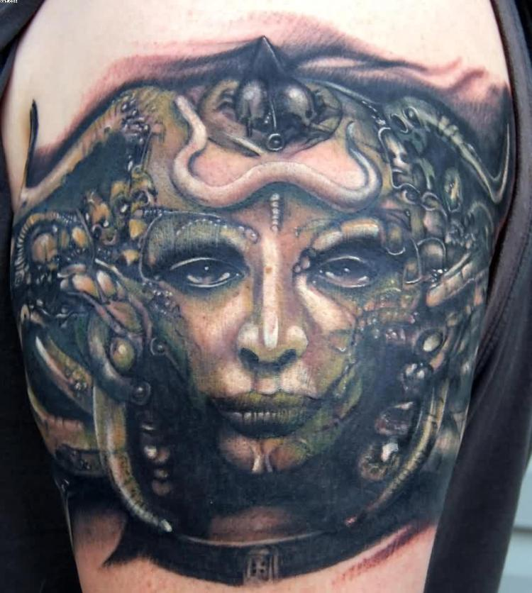 Horrible Grey And Green Color Ink Alien Woman Face Tattoo For Girls